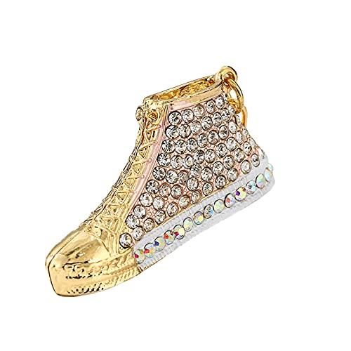 ZMMZ - Portachiavi a forma di scarpa con strass, multicolore, smaltato, regalo per le donne, per il telefono e le chiavi (nero) - 2 pezzi rosa