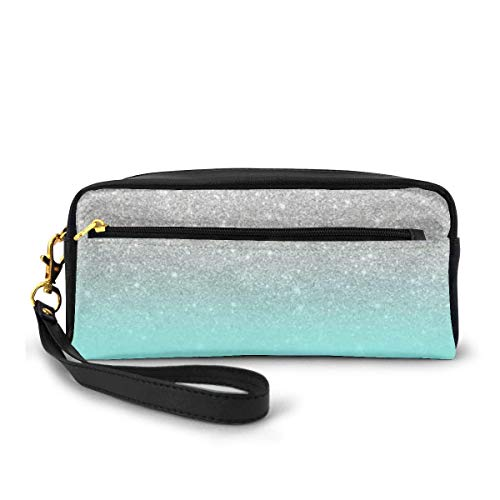 Yuanmeiju Modern Girly Faux Silver Glitter Ombre Teal Ocean Color Bock Cosmetic Bag Portable Students Astuccio for Girls Women Handbag Purse Make Up Pouch
