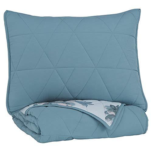Benjara Geometrically Stitched Twin Size Fabric Comforter Set with 1 Sham, Blue