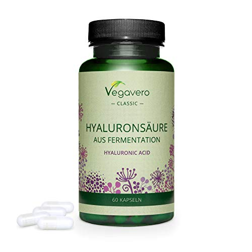 ACIDO IALURONICO Vegavero® | 400 mg: IL DOSAGGIO PIÙ ALTO | 60 o 180 capsule | 100% PURO e NATURALE: da fermentazione | 60 capsule | Vegan