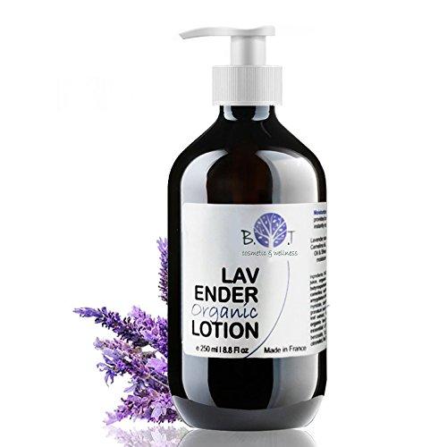 Lozione Corpo Lenitiva Bio con Lavanda & Aloe Crema Corpo Idratante Organica con Olio esenziale di Lavanda 250 ml Trattamento cosmetico Corpo vegan ad effetto rilassante