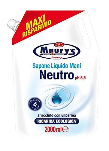 Maury's Sapone Liquido 2lt Ricarica per Sapone Mani Dermatologicamente Testato Ricarica Ecologica Maxi Risparmio (Neutro PH 5,5)