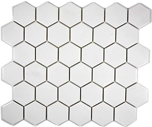 MOS11B-0102-R10 - Piastrelle a mosaico, in ceramica, forma esagonale, colore: Bianco