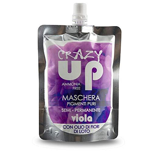Crazy Up Maschera Colorante Senza Ammoniaca Semipermanente per Capelli - Viola - 200 ml