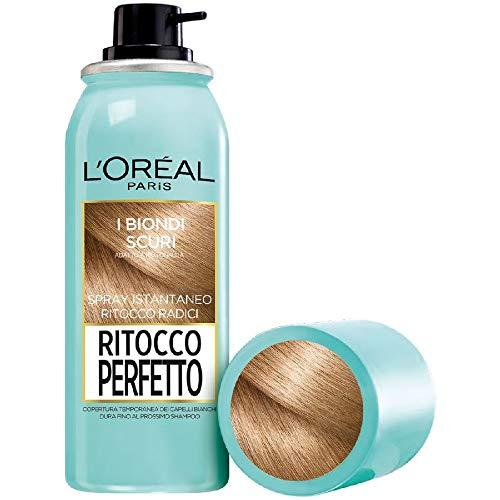 L'Oréal Paris Ritocco Perfetto, Spray Istantaneo Correttore per Radici e Capelli Bianchi, Colore: Biondo Scuro, 75 ml