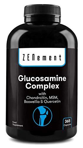 Glucosamina Complex con Condroitina, MSM, Boswellia e Quercetina, 365 Capsule | Non OGM, Senza Additivi, Senza Glutine, GMP | di Zenement