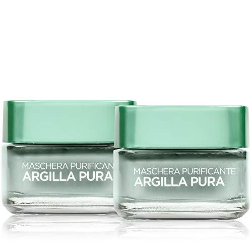 L'Oréal Paris Trattamenti Detergenza Maschera per il Viso, Argilla Pura Purificante con Eucalipto, Purifica e Opacizza la Pelle, 50 ml, 1 Confezione da 2 Pezzi