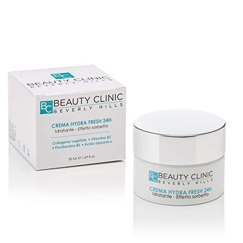 Beauty Clinic - Crema Idratante Viso Hydra Fresh 24H - Crema con Collagene Vegetale, Acido Ialuronico, Vitamina B3 e Provitamina B5 - Per una Pelle Elastica e Idratata a Lungo - 50 ml