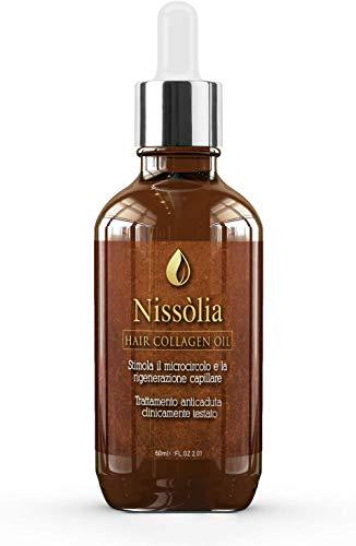 Olio per capelli Rigenerante e Idratante Trattamento A Base Di Collagene con Olio di Argan, Olio di Jojoba, Olio di Ricino, Olio di Mandorle Dolci e Vitamina E - 60ml