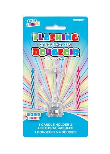 Unique Party 37537 - Candela di Compleanno Numero 7 Cambia Colore Lampeggiante Portacandela Con 4 Candele