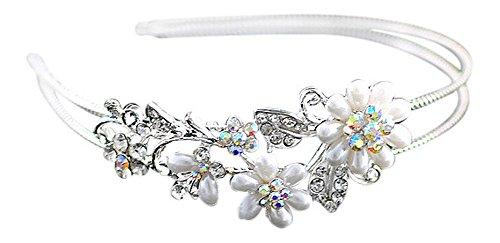 Cerchietto per capelli con strass, perline e fiori, da sposa o damigella, colore argento