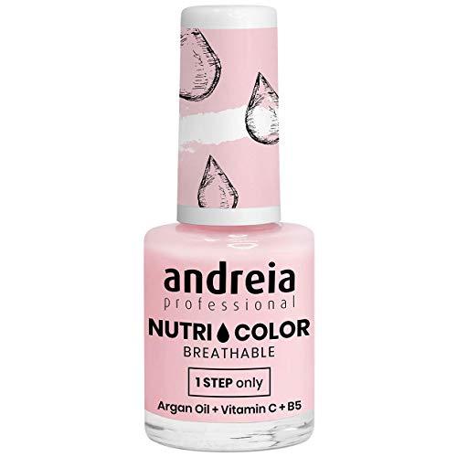 Andreia Professional NutriColor - Smalto Vegan traspirante - Colore NC21 Rosa latteo - 10,5 ml