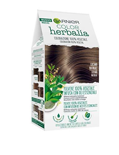 Garnier Herbalia Color, Colorazione Permanente per Capelli, 100 % Vegetale con Henné, Indigo e Cassia per Riflessi Naturali e Luminosi, Capelli Rivitalizzati e Densificati, Castano Naturale