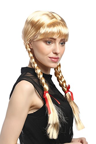 WIG ME UP - XR-008-P02 Parrucca Donna Carnevale Cosplay Trecce con Fiocchi Frangetta Scolaretta Lolita Biondo Biondo Oro Circa 60 cm