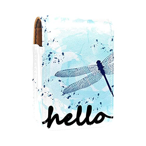 Mini Pelle Sacchetto dell'organizzatore del rossetto,animale blu acquerello