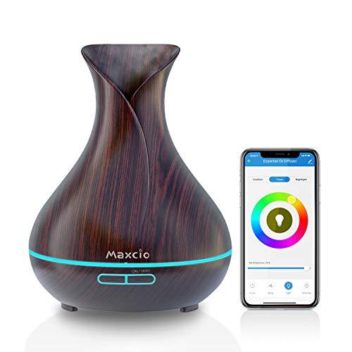 Maxcio Diffusore di Aromi WiFi, 400ML Diffusore Intelligente di Oli Essenziali Compatibile con Alexa/ Google Home, Funzione Timer, Profumatore Ambiente con APP Controllo, 7 Colori LED Regolabile, Nero