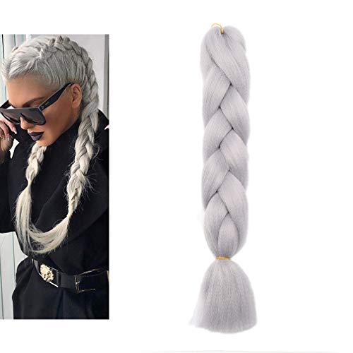 Elailite Extension Treccine Africane Capelli Sintetici Afro Ricci Treccia Finta Ombre 60cm Braiding Hair Fibre Crochet Una Ciocca 100g, Grigio Argento