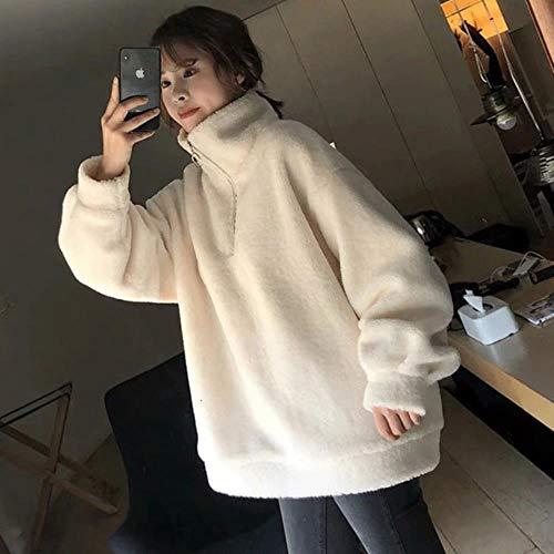 MU-PPX Autumn Winter Warm Hoodies Sweatshirt Women Hoodies Casual Velvet Pocket Long Sleeve Top Coats Hoodie,White,XL