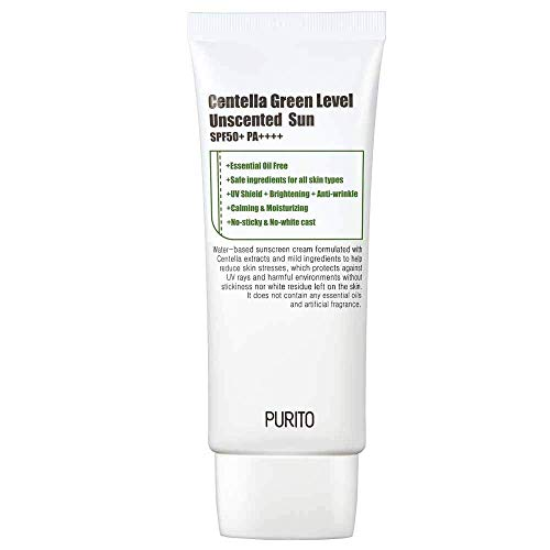 PURITO Centella Green Level Unscented Sun SPF50+ PA++++ 60ml / 2 fl.oz EWG All Green Ingredients, 100%, Cica care, UVA1,2 UVB, Broad spectrum,Lightweight,Sensitive skin,essential oil fre