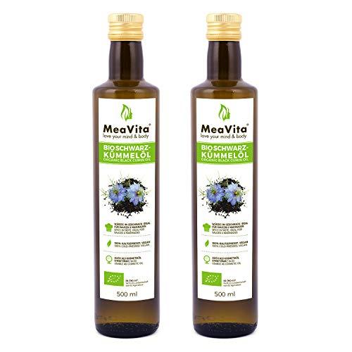 MeaVita Organic Black Cumin Oil, spremuto a freddo, confezione da 2 (2 x 500ml)