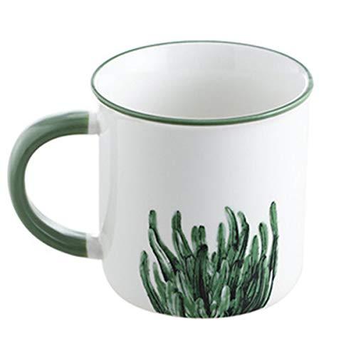 qwess necessità Quotidiane Modello Cactus Tazza in Ceramica Tazza di caffè per Uso Domestico Coppia da Ufficio Tazza da Bere Tazza Tazza da Latte Tazza 9,9 Cm * 9,9 Cm 400 Ml