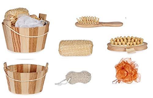 Cofanetto da bagno Luxe, set di 6 accessori: spazzola per massaggio anti-cellulite, spazzola per capelli in legno, spugna Luffa e pietra pomice piedi, secchio in legno
