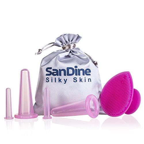 Set Coppettazione Viso Silicone - Riduttore Doppio Mento - Coppetta Cellulite - Coppette Anticellulite - Vacuum Viso e Corpo - Cupping Kit da Sandine (Rosa 5 pezzi)
