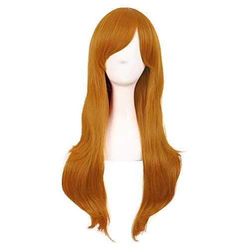 MapofBeauty 28 Pollic/70cm Parrucca Da Donna Uso Quotidiano Capelli Ricci Moda (Dorato Arancione)