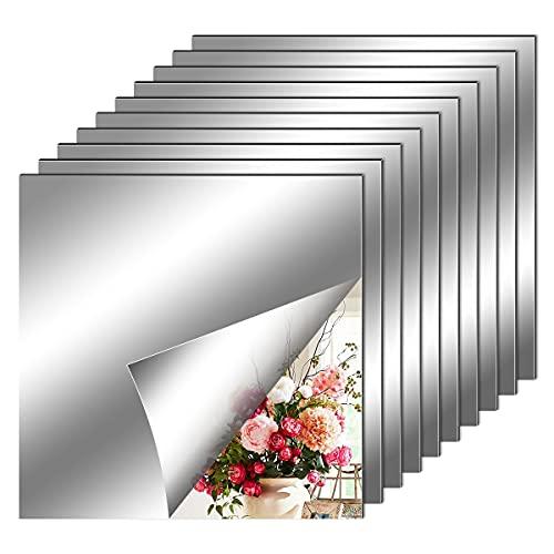 10 Pezzi Adesivi da Parete a Specchio, Specchio Flessibile Adesivo, fogli in materiale morbido Non Vetro Specchio Piastrelle Parete appiccicoso Specchio per Decorazioni Murali Casa (20 x 20 cm)