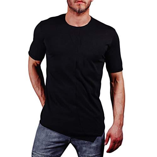 Xmiral T Shirt Camicia a Maniche Corte con Risvolto Moda Casual Slim da Uomo M Nero