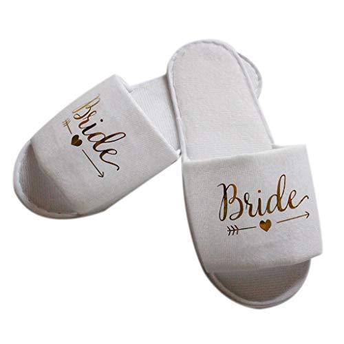 COMEYER Pantofole da Sposa da Sposa Pigiama da Sposa Festa Decorazione da Damigella d'Onore Pantofola USA e Getta per Hotel