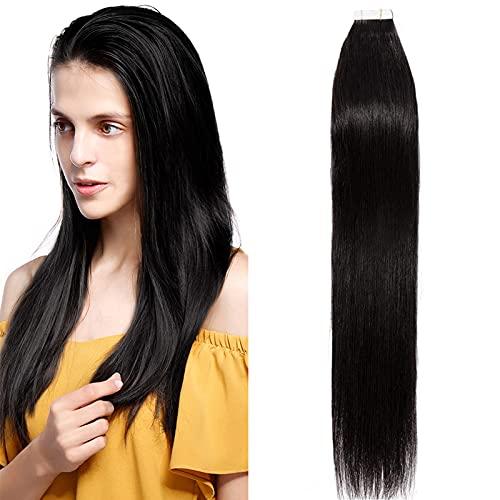 SEGO Extension Biadesivo Capelli Veri Biadesive 20 Fasce Adesive 100% Remy Human Hair Tape Extensions 40g - 35cm #1B Nero Naturale