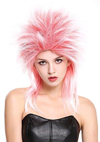 WIG ME UP - 90891-ZA13TZA60 Parrucca Donna Uomo Carnevale Anni 80 Wave Punk Popstar Mix Rosso & Bianco Cotonata