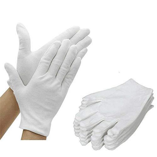 Gleader Guanti, Cotone, White, Unisex, 12 Unità