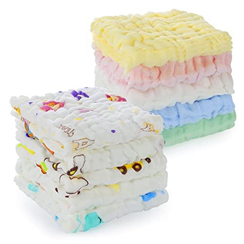 Asciugamani Neonati, Comius Sharp 10 Pezzi Mussole Neonato Cotone, Infantile Cotone Bambù Asciugamano Viso, Asciugamano Saliva, Regalo per Bambini Neonati Bebè Maschio Femmina