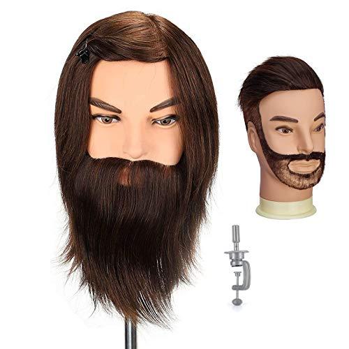Uomo Testa di manichino, Neverland Beauty 100% veri capelli umani con barba cosmetologia parrucchiere formazione manichino bambola (12 pollici)