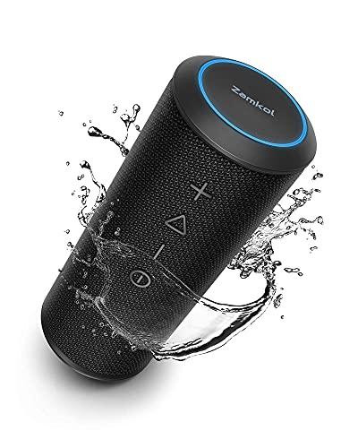 Zamkol Cassa Bluetooth, 24W Altoparlante Portatile con Bassi Potenti, Impermeabile, 15 Ore, TWS, Mic, Potente 360 Suono Stereo Speaker per Esterno, Cucina, Viaggio, Festa, Regalo