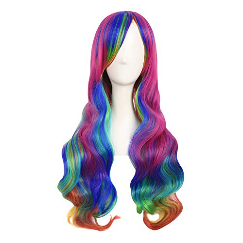 MapofBeauty 28 Pollic/70cm Ladies Cosplay Ricci Lunghe Scoppi Obliqui Parrucche (Arcobaleno Colore)