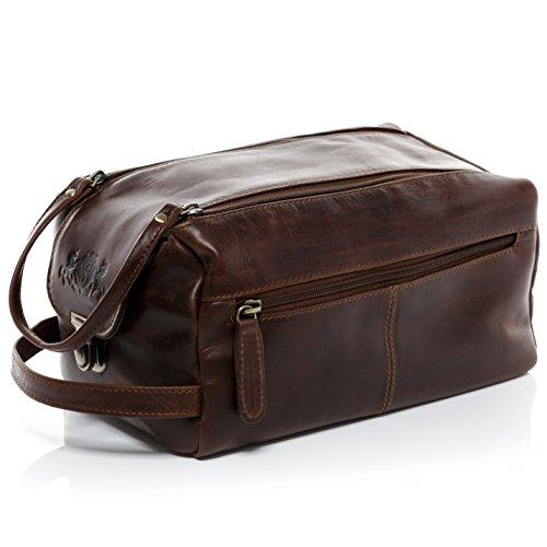 SID & VAIN® borsa toiletry vera pelle vintage BRISTOL grande XL borsetta necessaire Toilette pochette beauty case da Viaggio uomo cuoio marrone