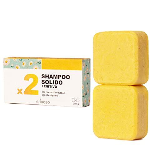 Shampoo Solido Bio Lenitivo e Illuminante alla Camomilla, Calendula e Luppolo 130 g per cute sensibile - Enooso - 100% Artigianale Biologico Naturale Vegano - Made in Italy
