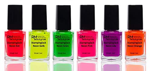 RM Beautynails - Smalto per stamping, set di 6 colori neon da 4 ml ciascuno: rosso, giallo, verde, rosa, viola, arancione