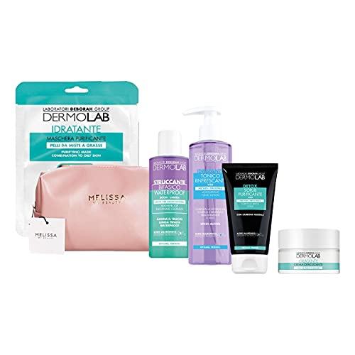 DERMOLAB Kit Detox : Maschera purificante - Struccante bifasico - Tonico - Scrub viso - Crema opacizzante + Pochette