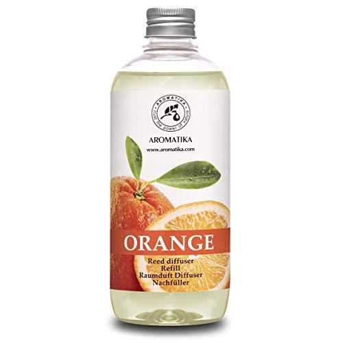 Diffusore Profumato per Ambiente di Arancio - 500ml - Olio Essenziale Naturale Orange - Fragranza Naturale Intensa e Duratura - Senza Alcool - Profumo per Interni