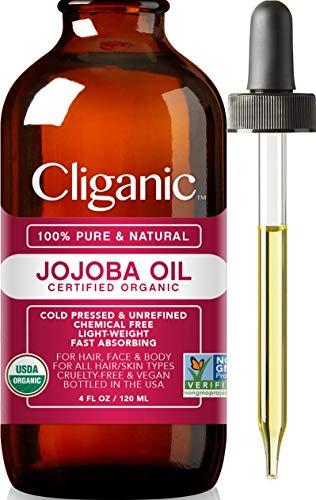 Cliganic Olio di Jojoba puro 100% biologico, 120ml - Naturale pressato a freddo e non raffinato, per capelli e viso utilizzabile anche come olio per massaggi – Con garanzia di 90 giorni
