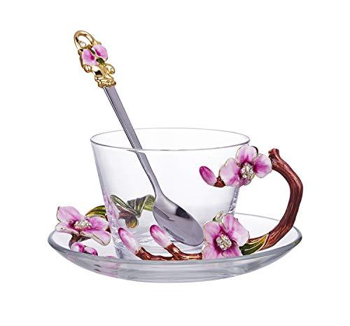 ZHENGYAQI-Glass Smalto, Colore, Elegante Colore Smalto Romantico Modello Rosa Vetro Trasparente for Tazza da caffè Tazza Tazza da tè (con Set di Piatti e cucchiai) Trasparente, Vetro (Color : Clear)
