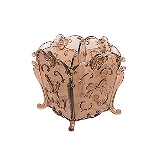Tesora Porta Gioie Trasparente scatola di stoccaggio cosmetico trucco organizzatore di trucco spazzola for il trucco rossetto vintage intagliato desktop finissaggio ( Color : Transparent coffee )