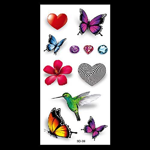 HXMAN 3d Farfalla Tatuaggio Decalcomanie Corpo Arte Decali Volante Farfalla Impermeabile Carta Temporanea Tatuaggio Pesce Fiore Di Fiori Tatuaggio(2 Pack) 3D-39