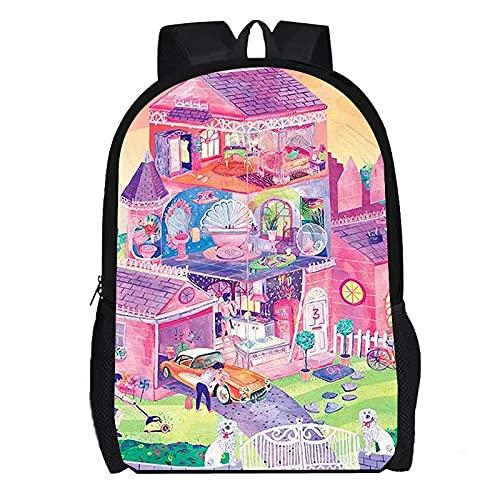 DBCJVB Zaino moda impermeabile con stampa a colori Oxford panno Barbie Cottage Campus borsa da scuola da viaggio all'aperto borsa da campeggio leggera