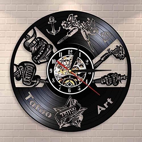 ZYBBYW Orologio da Parete in Vinile Tattoo Studio Segno da Parete Salone del Tatuaggio Disco in Vinile Orologio da Parete Muto Orologio Negozio Macchina da Tatuaggio Murale
