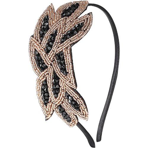 ArtiDeco 1920s - Fascia per capelli da donna, stile anni 20 Oro nero Taglia unica